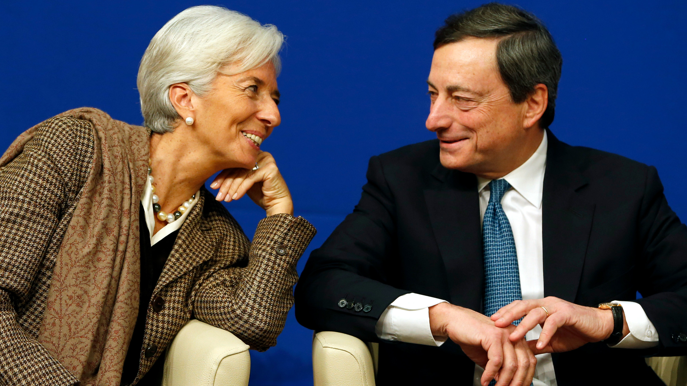 "International Monetary Fund (IMF) Managing Director Christine Lagarde (L) and European Central Bank (ECB) President Mario Draghi attend the conference ""Growth and integration in solidarity: what strategy for Europe?"" with top financial officials at the Economy ministry in Paris November 30, 2012."